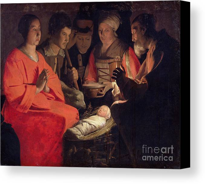 Adoration Canvas Print featuring the painting Adoration Of The Shepherds by Georges de la Tour