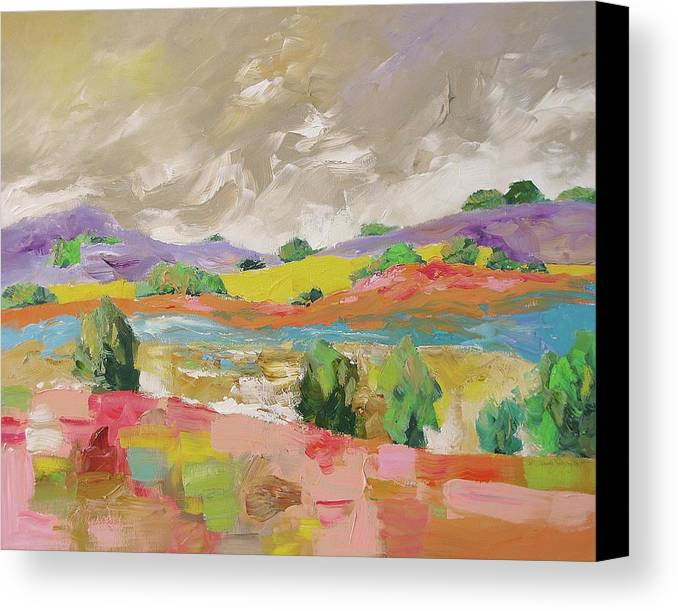 Original Canvas Print featuring the painting Along The River by Linda Monfort
