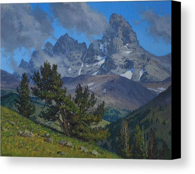 Landscape Canvas Print featuring the painting Alpine Sentinels by Lanny Grant