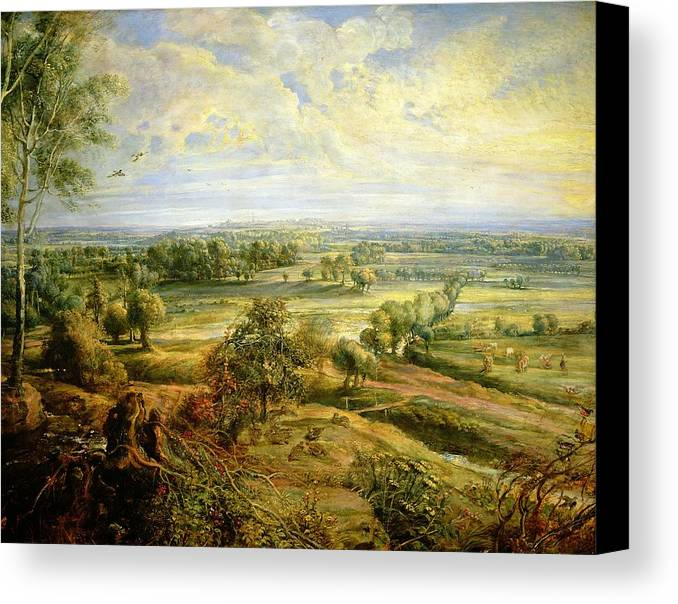 Autumn Canvas Print featuring the painting An Autumn Landscape With A View Of Het Steen In The Early Morning by Rubens