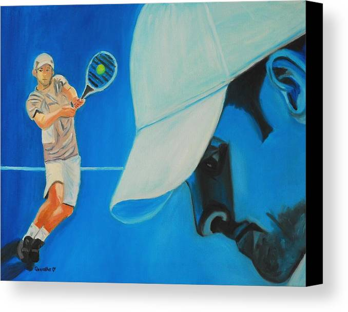 Andy Canvas Print featuring the painting Andy Roddick by Quwatha Valentine