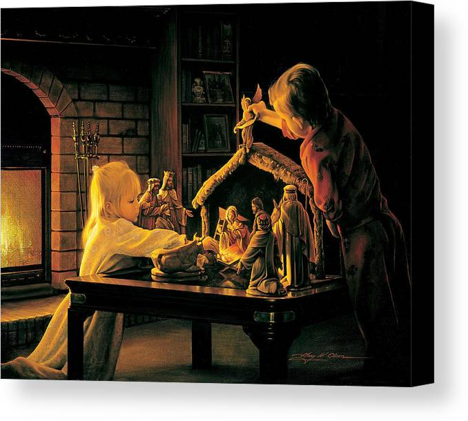 Christmas Canvas Print featuring the painting Angels Of Christmas by Greg Olsen