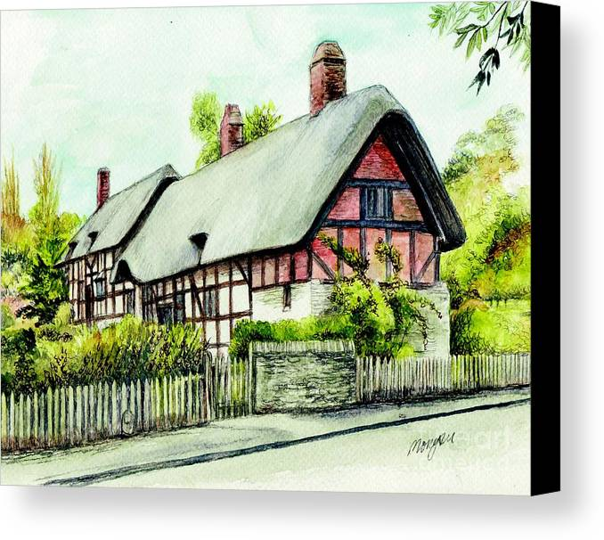 Anne Canvas Print featuring the painting Anne Hathaway Cottage England by Morgan Fitzsimons