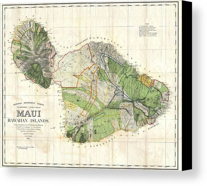 Antique maps old cartographic maps antique map of maui hawaii antique map of maui canvas print featuring the drawing antique maps old cartographic maps altavistaventures Gallery