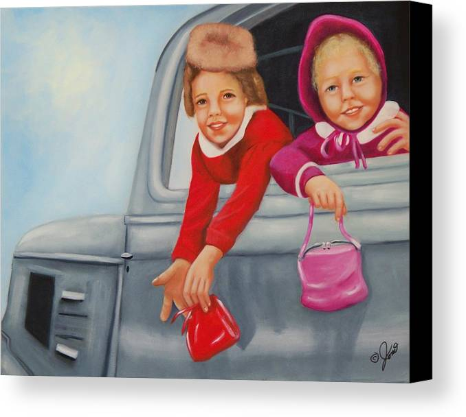 Portraits Canvas Print featuring the painting Are We There Yet by Joni McPherson