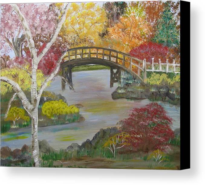 Landscape Canvas Print featuring the painting Autum Bridge by Mikki Alhart