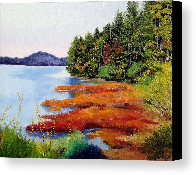 Maine Nature Oil Paintings Original Art Canvas Print featuring the painting Autumn Bay Marsh by Laura Tasheiko