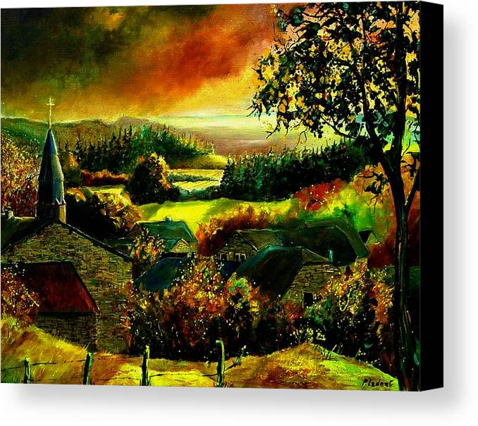 Landscape Canvas Print featuring the painting Autumn In Our Village Ardennes by Pol Ledent