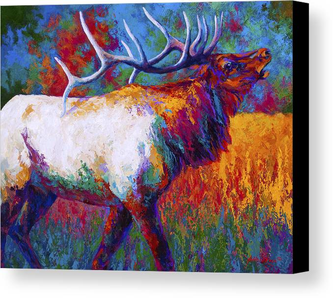 Elk Canvas Print featuring the painting Autumn by Marion Rose