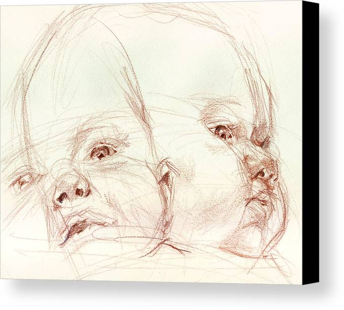 Portrait Canvas Print featuring the drawing Awake by Sarah Madsen