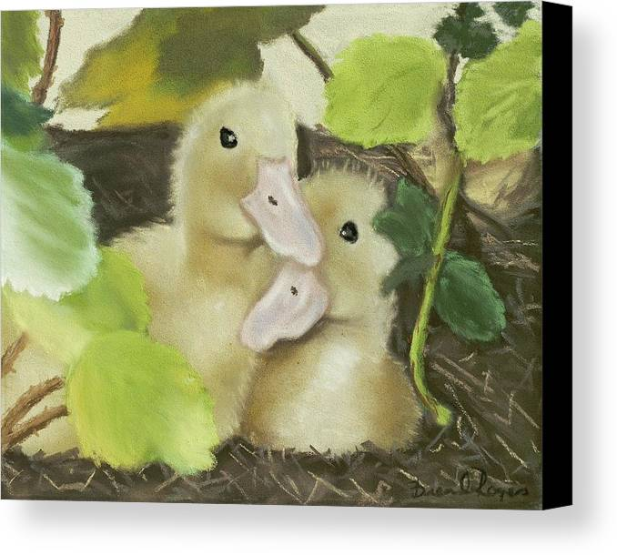 Ducks Canvas Print featuring the painting Babies In The Berry Bush by Brenda Williams