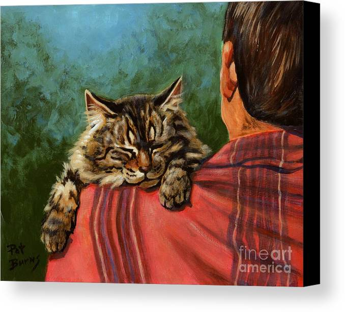 Cat Canvas Print featuring the painting Babyface by Pat Burns