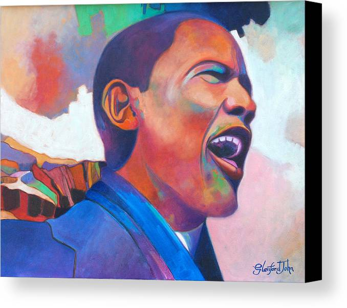 President Canvas Print featuring the painting Barack Obama by Glenford John