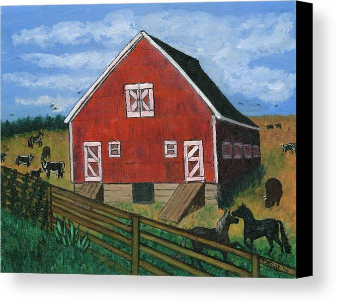 Big Red Barn Surrounded By Horses Canvas Print featuring the painting Barnyard On The Prairie by Tanna Lee M Wells