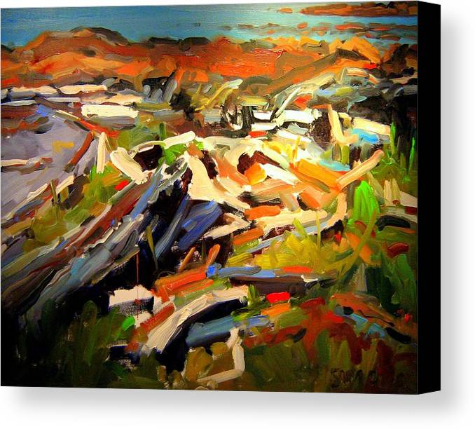 Beach Paintings Canvas Print featuring the painting Beach by Brian Simons