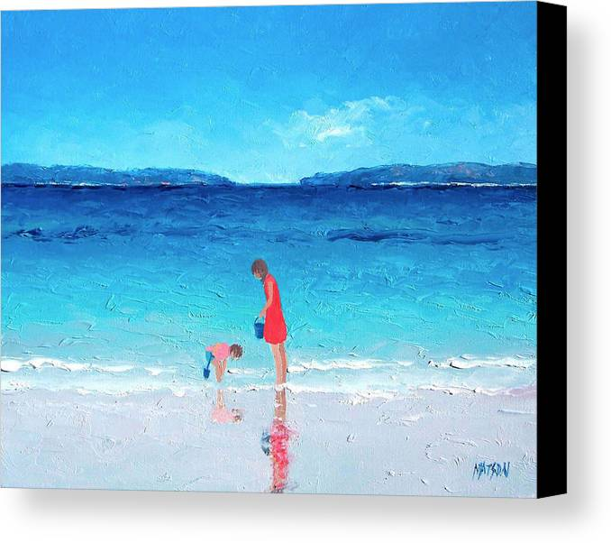 Beach Canvas Print featuring the painting Beach Painting - Cooling Off by Jan Matson
