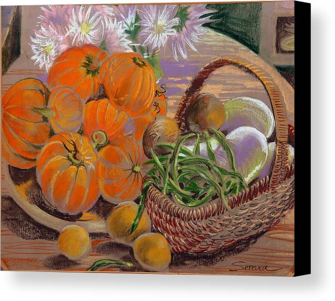 Still Life Canvas Print featuring the pastel Bernadette's Table by Serena Valerie Dolinska