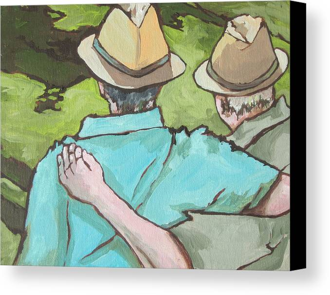 Men Canvas Print featuring the painting Best Friends by Sandy Tracey