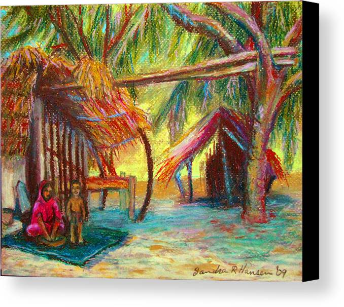 Oil Pastel Canvas Print featuring the pastel Betawar Village Life by Art Nomad Sandra Hansen