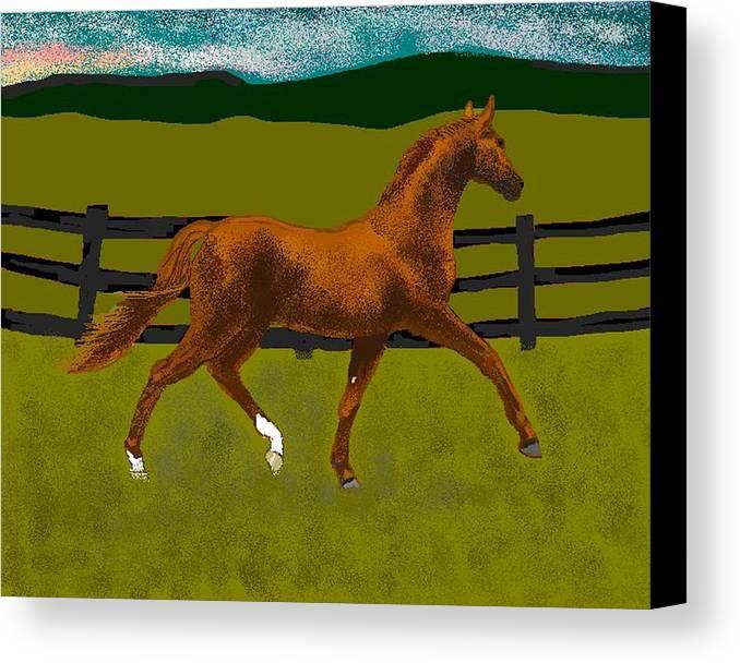 Horse Canvas Print featuring the digital art Big Duke by Carole Boyd