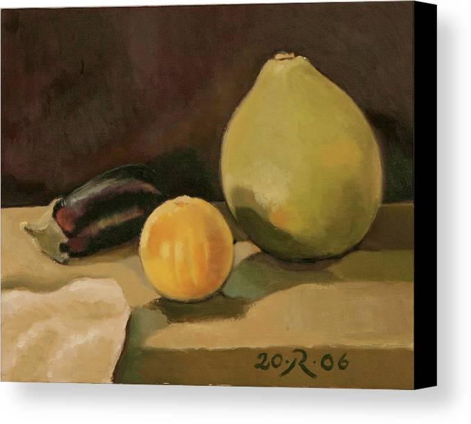 Still-life Cucurbit Aubergine Grapefruit Canvas Print featuring the painting Big Grapefruit by Raimonda Jatkeviciute-Kasparaviciene