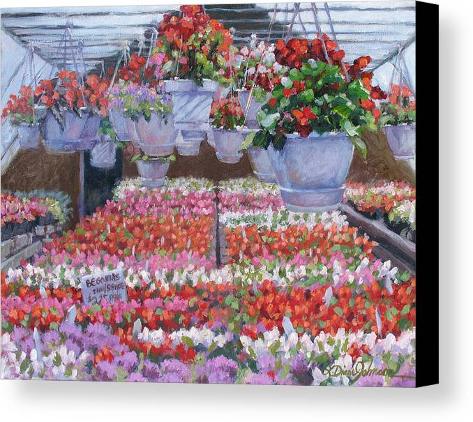 Greenhouse Garden Canvas Print featuring the painting Blooms Ablaze by L Diane Johnson