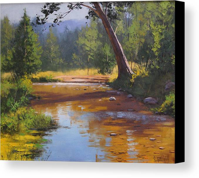 Coxs Canvas Print featuring the painting Blue Mountains Coxs River by Graham Gercken