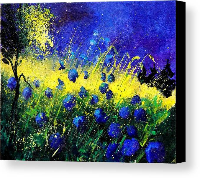 Flowers Canvas Print featuring the painting Blue Poppies by Pol Ledent