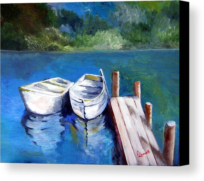 Landscape Canvas Print featuring the painting Boats Docked by Julie Lamons