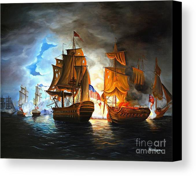 Naval Battle Canvas Print featuring the painting Bonhomme Richard Engaging The Serapis In Battle by Paul Walsh