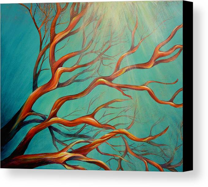 Coral Sea Ocean Underwater Beach Aquatic Reef Diving Contemporary Close-up Aquatica Series Canvas Print featuring the painting Branching Out by Dina Dargo