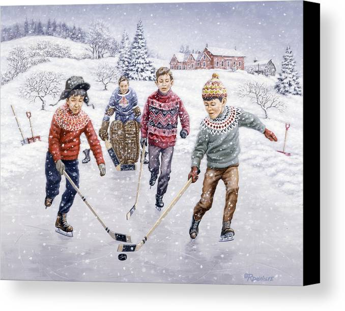 Hockey Canvas Print featuring the painting Breakaway by Richard De Wolfe