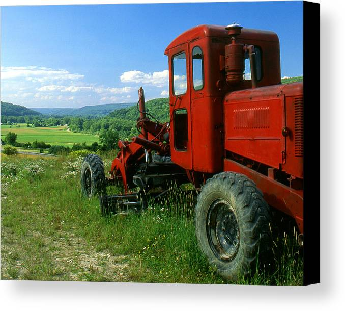 Heavy Equipment Canvas Print featuring the photograph Bright Red Antique Grader by Roger Soule