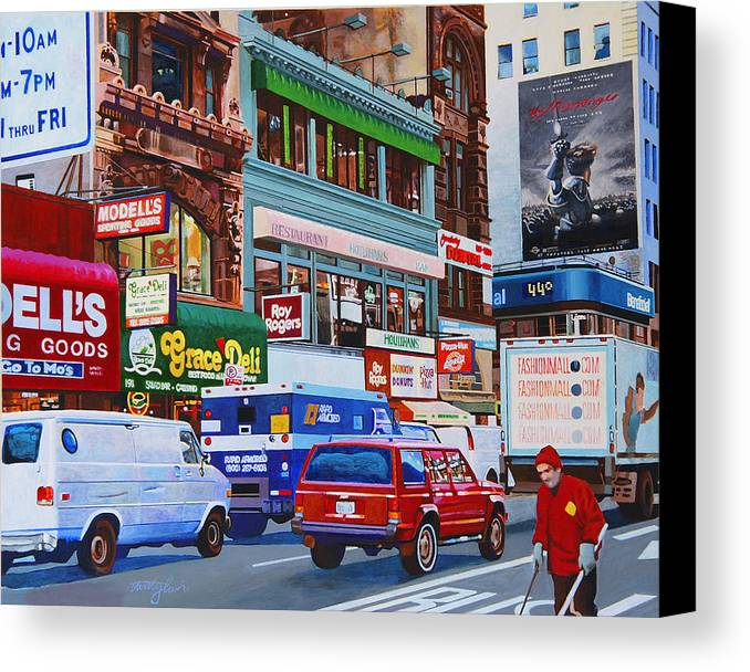 Street Scenes Canvas Print featuring the painting Broadway by John Tartaglione