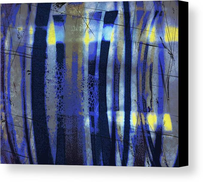 Bubble Lines Abstract Digital Image Susan Epps Oliver Original Blue Abstract Lines Fun Contemporary Canvas Print featuring the mixed media Bubble Lines by Susan Epps Oliver
