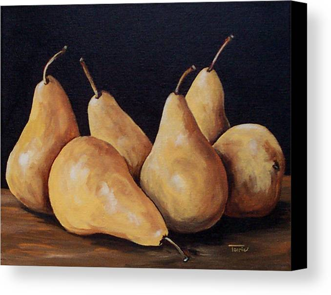 Golden Bosc Pears Canvas Print featuring the painting Bunch Of Bosc Pears by Torrie Smiley