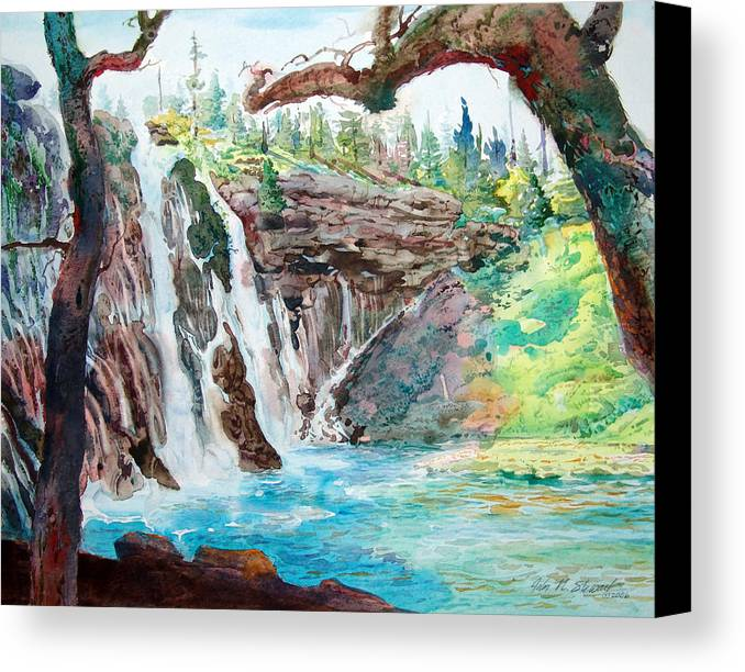 Watercolor Canvas Print featuring the painting Burney Falls by John Norman Stewart