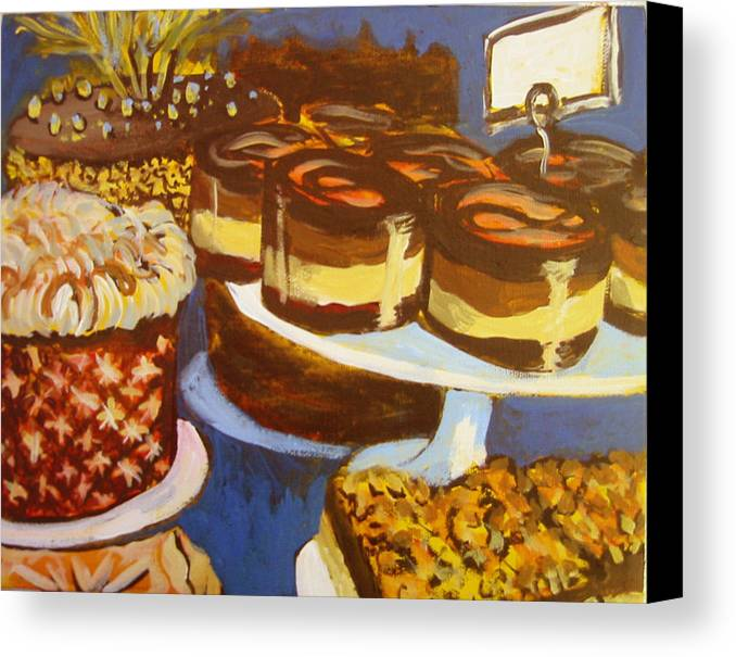 Cake Canvas Print featuring the painting Cake Case by Tilly Strauss