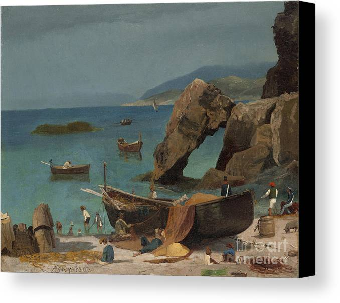Albert Bierstadt Canvas Print featuring the painting Capri Beach by Celestial Images
