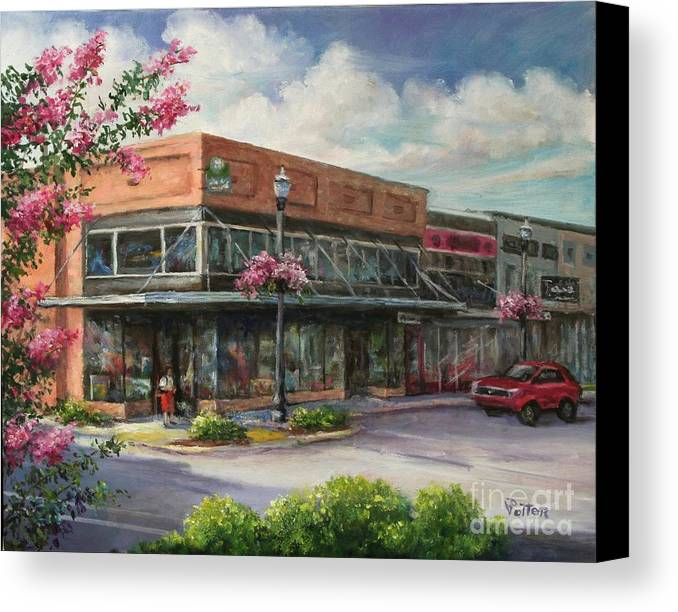 City Canvas Print featuring the painting Carmen's Corner by Virginia Potter