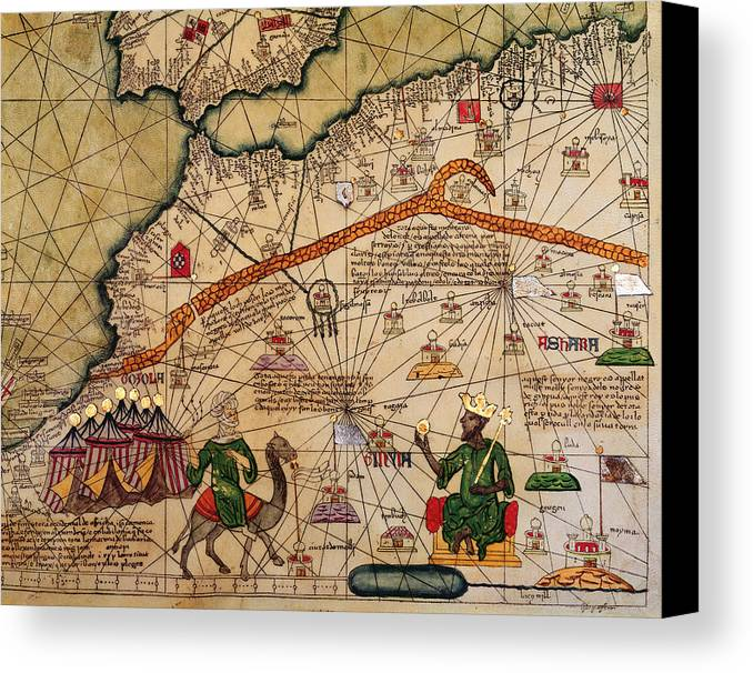 Detail Canvas Print featuring the drawing Catalan Map Of Europe And North Africa Charles V Of France In 1381 by Abraham Cresques
