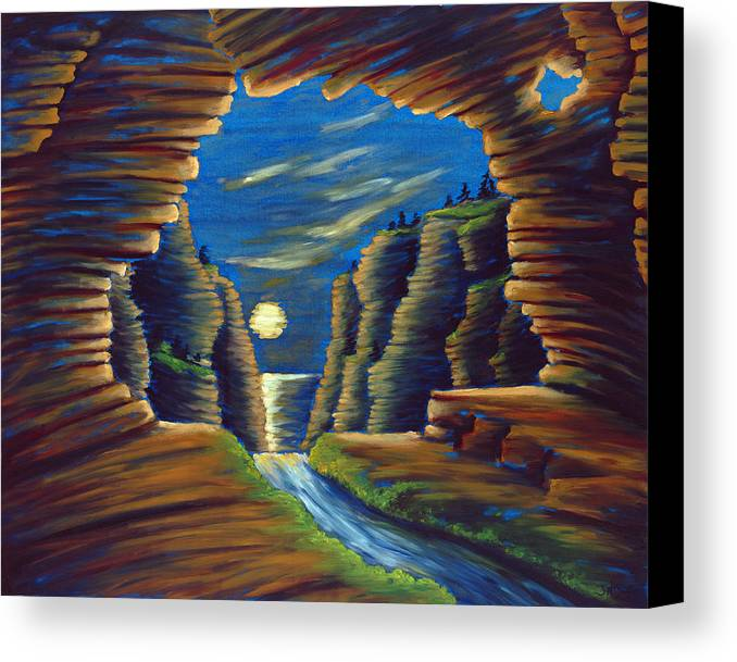 Cave Canvas Print featuring the painting Cave With Cliffs by Jennifer McDuffie