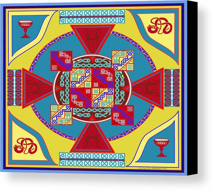 Celtic Knot Canvas Print featuring the painting Celtic Chalice by Mike Sexton