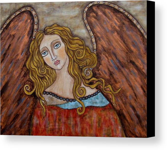 Folk Art Paintings Paintings Canvas Print featuring the painting Chaourum by Rain Ririn