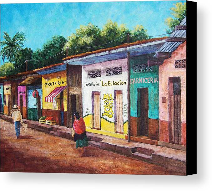 Landscape Canvas Print featuring the painting Chiapas Neighborhood by Candy Mayer