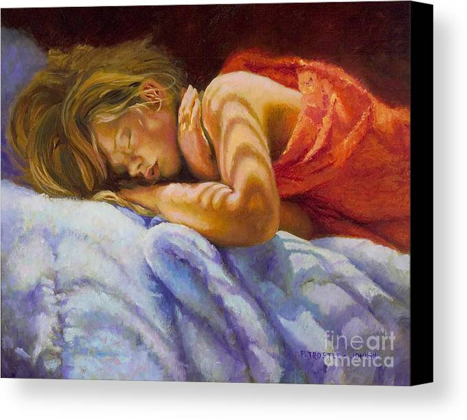 Wall Art Canvas Print featuring the painting Child Sleeping Print Wall Art Room Decor by Patti Trostle