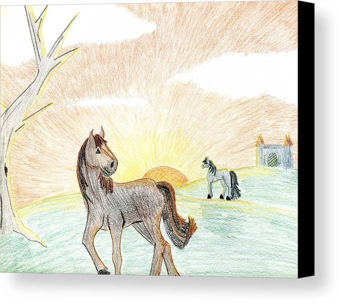 Horse Canvas Print featuring the drawing Childhood Dream by Kim
