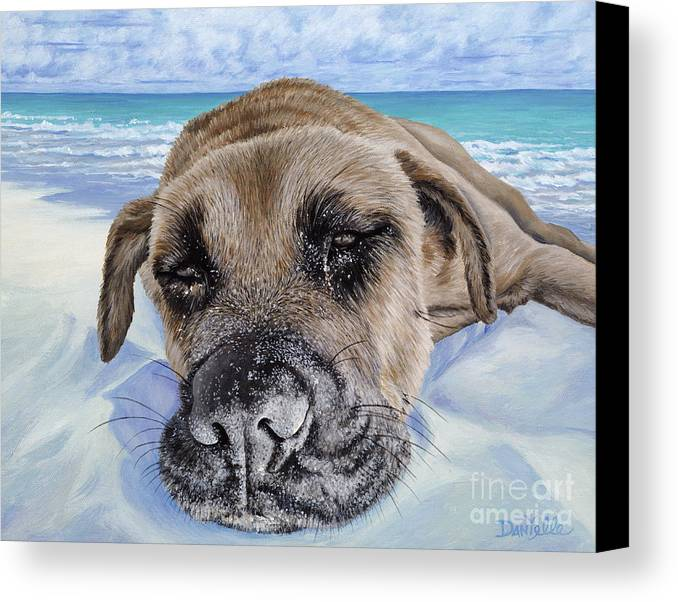 Pet Portrait Canvas Print featuring the painting Chillin In Briland by Danielle Perry