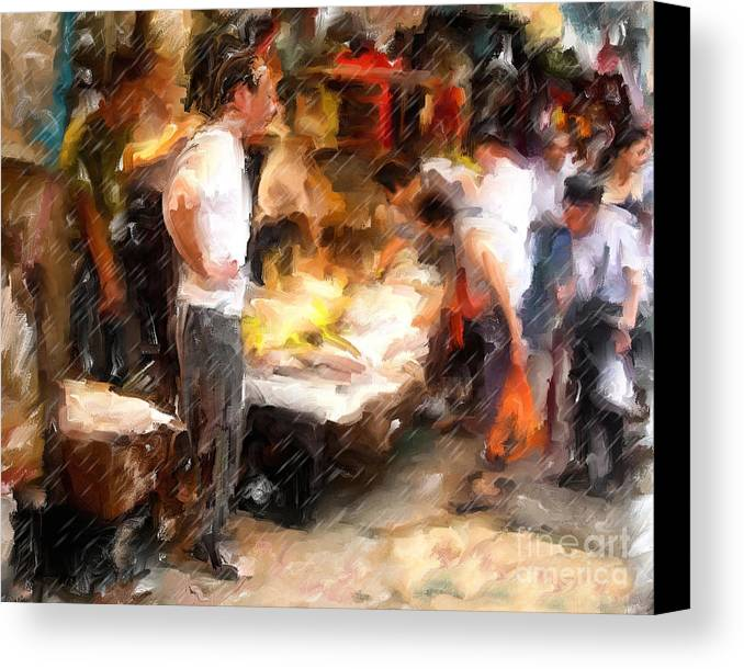 Chinatown Canvas Print featuring the mixed media Chinatown Rain by Marilyn Sholin