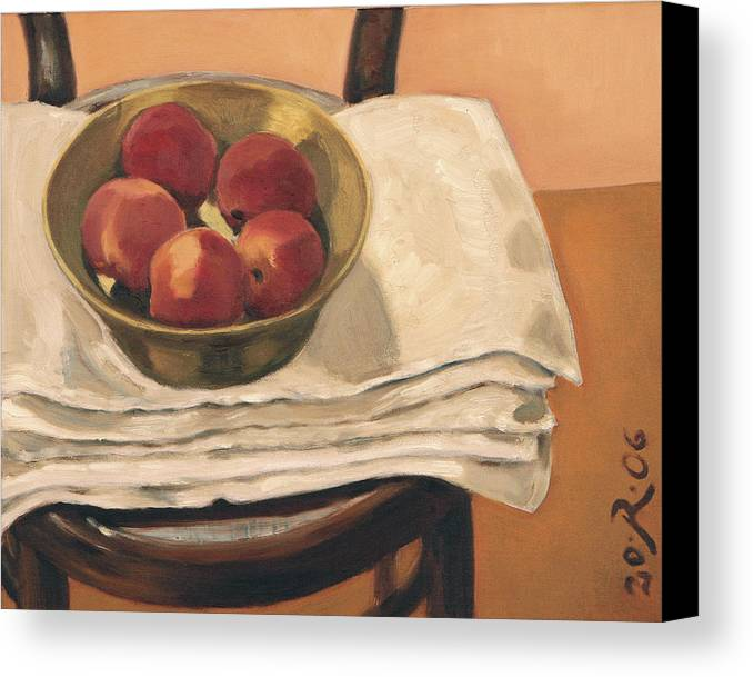 Still-life Apples Chair Red Yellow Gold Canvas Print featuring the painting Christmas Apples by Raimonda Jatkeviciute-Kasparaviciene